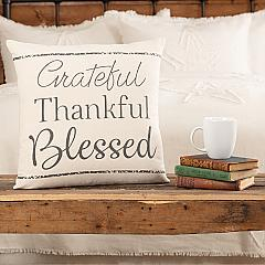 Casement Natural Grateful Thankful Blessed Pillow 18x18
