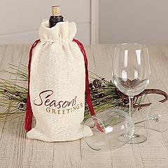 Creme Burlap Wine Bag Seasons Greetings 13x6.5