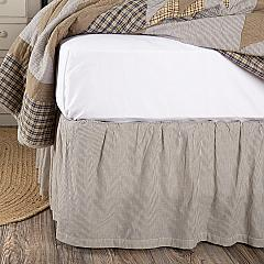 Dakota Star Farmhouse Blue Ticking Stripe King Bed Skirt 78x80x16