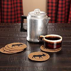 Cumberland Stenciled Moose Jute Coaster Set of 6
