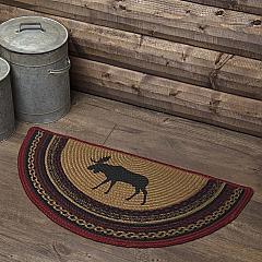 Cumberland Stenciled Moose Jute Rug Half Circle 16.5x33