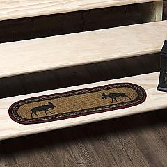 Cumberland Stenciled Moose Jute Stair Tread Oval Latex 8.5x27