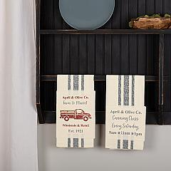Farmer's Market Delivery Truck Unbleached Natural Muslin Tea Towel Set of 2 (Truck; Canning)