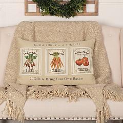 Farmer's Market Garden Veggie Pillow 14x22