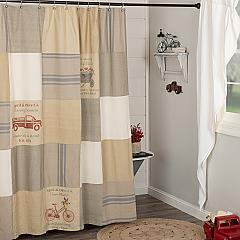 Farmer's Market Stenciled Patchwork Shower Curtain 72x72