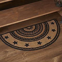 Farmhouse Jute Rug Half Circle Stencil Stars Border 16.5x33