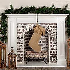 Festive Natural Burlap Ruffled Stocking 11x20