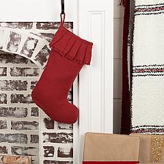 Festive Red Burlap Ruffled Stocking 11x15