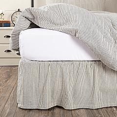Hatteras Seersucker Blue Ticking Stripe King Bed Skirt 78x80x16