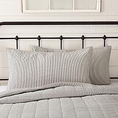 Hatteras Seersucker Blue Ticking Stripe King Sham 21x37