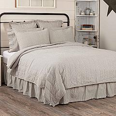 Hatteras Seersucker Blue Ticking Stripe Luxury King Quilt Coverlet 120Wx105L