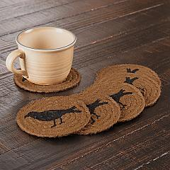 Heritage Farms Crow Jute Coaster Set of 6