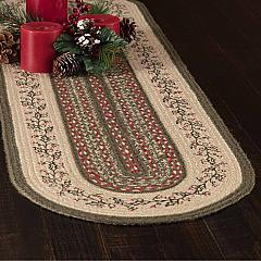 Holly Berry Jute Stencil Runner Oval 13x36
