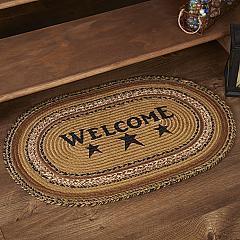 Kettle Grove Jute Rug Oval Stencil Welcome 20x30