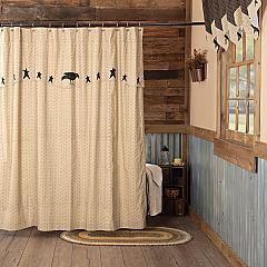 Kettle Grove Shower Curtain with Attached Applique Crow and Star Valance 72x72