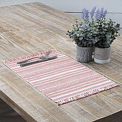 Madeline Red Ribbed Placemat Set of 6 12x18