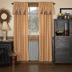 Maisie Panel with Attached Scalloped Layered Valance Set of 2 84x40