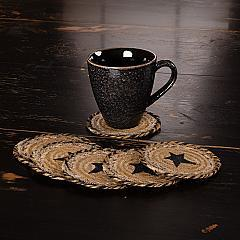Kettle Grove Jute Coaster Stencil Star Set of 6