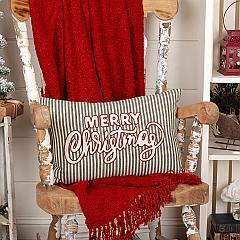 Merry Christmas Stripe Pillow 14x22