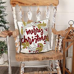 Merry Christmas Wreath Pillow 18x18