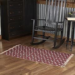 Multi Star Red Cotton Rug Rect 27x48