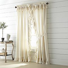 Muslin Ruffled Unbleached Natural Panel Set of 2 84x40