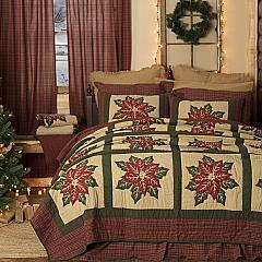 National Quilt Museum Poinsettia Block Queen Quilt 90Wx90L
