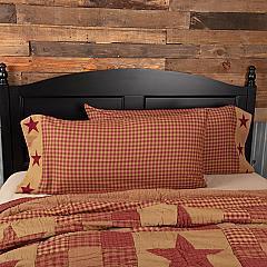 Ninepatch Star King Pillow Case w/Applique Border Set of 2 21x40