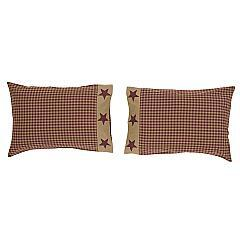 Ninepatch-Star-Standard-Pillow-Case-w-Applique-Border-Set-of-2-21x30-image-2