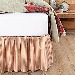 Ozark Red Ticking Stripe King Bed Skirt 78x80x16