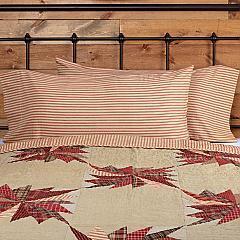 Ozark Red Ticking Stripe King Pillow Case Set of 2 21x40