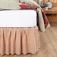 Ozark Red Ticking Stripe Queen Bed Skirt 60x80x16