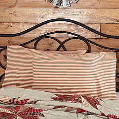 Ozark Red Ticking Stripe Standard Pillow Case Set of 2 21x30
