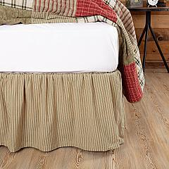 Prairie Winds Green Ticking Stripe King Bed Skirt 78x80x16
