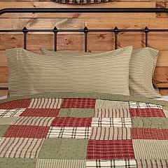 Prairie Winds Green Ticking Stripe King Pillow Case Set of 2 21x40