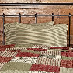 Prairie Winds Green Ticking Stripe Standard Pillow Case Set of 2 21x30