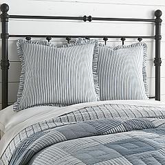 Sawyer Mill Blue Ticking Stripe Fabric Euro Sham 26x26
