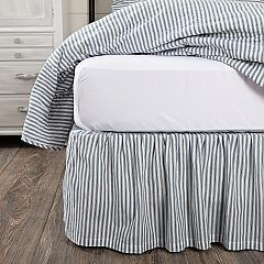 Sawyer Mill Blue Ticking Stripe King Bed Skirt 78x80x16
