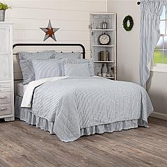 Sawyer Mill Blue Ticking Stripe Queen Quilt Coverlet 90Wx90L