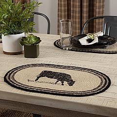 Sawyer Mill Charcoal Cow Jute Placemat Set of 6 12x18