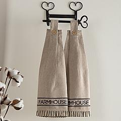 Sawyer Mill Charcoal Farmhouse Button Loop Kitchen Towel Set of 2
