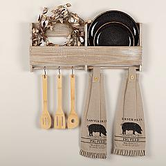 Sawyer Mill Charcoal Pig Button Loop Kitchen Towel Set of 2