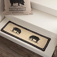 Sawyer Mill Charcoal Pig Jute Stair Tread Rect Latex 8.5x27