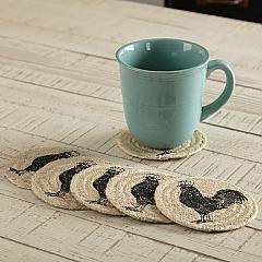 Sawyer Mill Charcoal Poultry Jute Coaster Set of 6