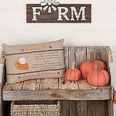 Sawyer Mill Charcoal Pumpkin Pie Recipe Pillow 14x22