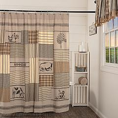 Sawyer Mill Charcoal Stenciled Patchwork Shower Curtain 72x72