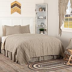 Sawyer Mill Charcoal Ticking Stripe Twin Quilt Set; 1-Quilt 68Wx86L w/1 Sham 21x27