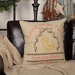 Sawyer Mill Easter on the Farm Chick Pillow 18x18
