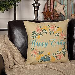 Sawyer Mill Happy Easter Wreath Pillow 18x18
