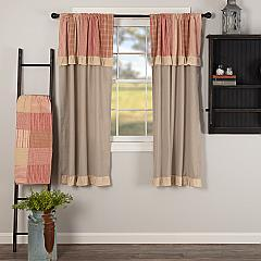 Sawyer Mill Red Chambray Solid Short Panel with Attached Patchwork Valance Set of 2 63x36